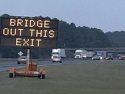 Traffic was being rerouted around the damaged Brogden Road bridge.
