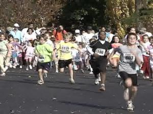 A kid's dash was among the events at Raleigh's annual Ridgewood Turkey Trot on Thursday, Nov. 22, 2007.