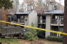 Images of the fire damage at Ashbrook Apartments in Carrboro.