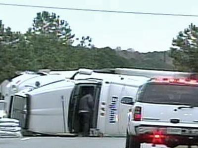 An tractor-trailer overturned Tuesday near White Oak Crossing shopping center in Garner.