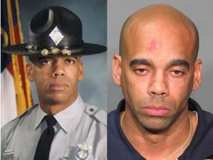 Trooper Steven Bradley, left, in his official Highway Patrol photo and in his mugshot photo.