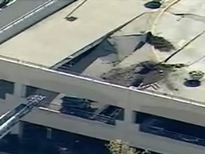 Footage from WBTV's chopper shows the damage done to the parking deck in Charlotte.