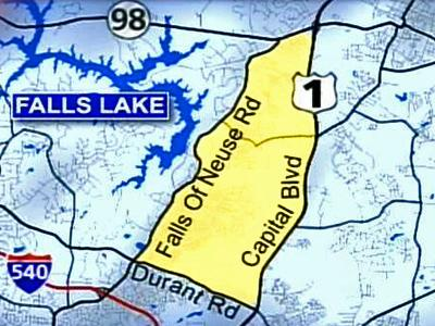 Map shows an area of north Raleigh where rezoning ordinances would restrict development, including that of existing properties, to protect a potential water supply on the Neuse River.