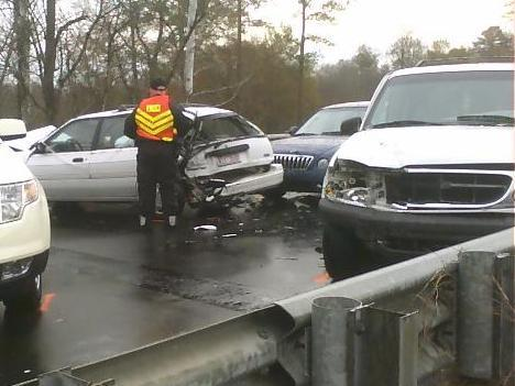 One person was killed in this accident on the Neuse River bridge on U.S. 70 in Johnston County.