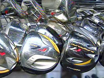 Golf clubs lined up at Global Golf in north Raleigh.