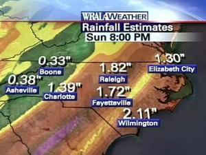 By 8 a.m. Sunday, Raleigh could see more than 1.82 inches of rainfall while Wilmington could see more than two inches.