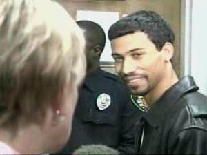 James Johnson talks to WRAL's Sloane Heffernan Wednesday while he is booked for accessory after the fact of murder in the 2004 death of Brittany Willis. Murder, rape, kidnapping and robbery charges were dismissed earlier in the day against Johnson, who spent three years in jail on a $1 million bond.