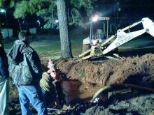 This was the scene Saturday after a tractor trailer hit a fire hydrant in Middlesex.