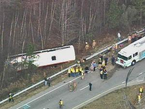 A bus was overturned off the side of U.S. 1 south of Henderson on Jan. 2, 2008, after a collision with a tractor-trailer.