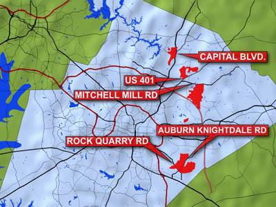 Raleigh officials are looking to expand city zoning regulations to the red areas.