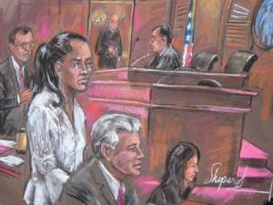 Marion Jones appears in federal court Friday, Jan. 11 in this sketch.
