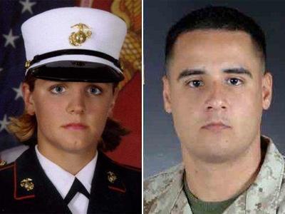 Marine Lance Cpl. Maria Lauterbach and Marine Cpl. Cesar Armando Laurean