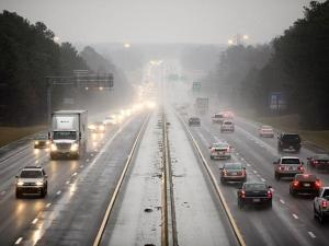Wintry mix turned to rain early on I40 keeping the morning commute routine.