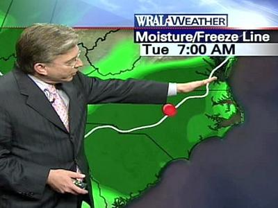 There is a slight chance for freezing rain Tuesday morning.