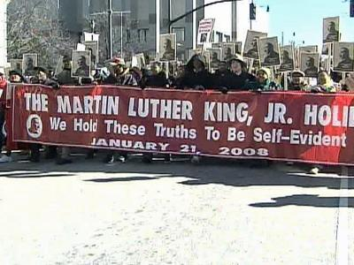 People marched in downtown Raleigh on Monday to remember Dr. Martin Luther King Jr.