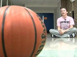 Blair Williams, a freshman basketball player for Athens Drive High School, chose to base her graduation project on Yow's annual Hoops for Hope, a fund raiser for a cure for breast cancer.