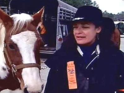 About a dozen protesters rode horseback Saturday to raise awareness over a proposed high-level research lab in Granville County.