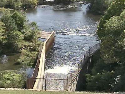 Falls Lake Dam spillway into Neuse River