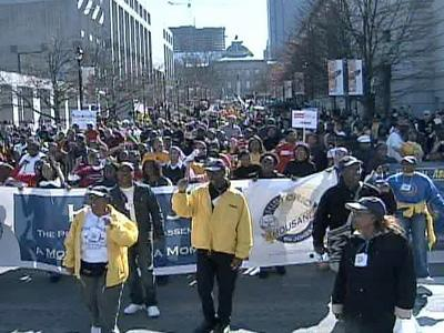 Members of the state National Association for the Advancement of Colored People and 80 other groups marched Saturday, Feb. 9, 2008, in downtown Raleigh.