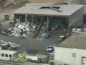 An explosion blew a hole in the roof of the Raleigh Metals Recycling scrap plant.