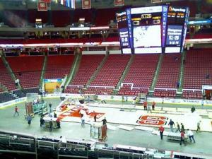 The RBC center is converting from a basketball court to an ice hockey arena Saturday, Feb. 16, 2008.