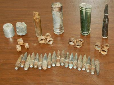Police found military munitions outside a trailer in Sanford.