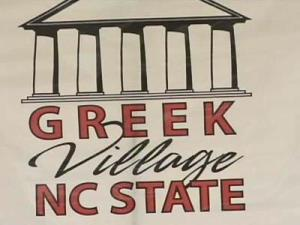 N.C. State Greek Village sign