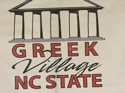 N.C. State Greek Village sign