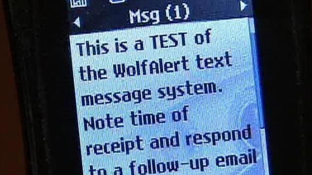 "North Carolina State University officials said about 80 percent of students who registered their cell phones with the school's ""WolfAlert"" system received the message within about 16 minutes."