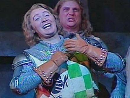 "Clay Aiken portrays several characters in the Broadway musical ""Monty Python's Spamalot,"" including Sir Robin."