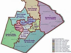 Member's districts for the Wake County School Board (WCPSS map).
