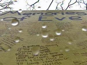 "A wall bears ""Memories of Eve,"" an on-campus memorial for UNC's slain student body president, Eve Carson, on Friday, March 7, 2008."