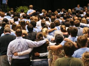 "UNC Students sing ""Hark the Sound"", the school's Alma Mater at a memorial service for Student Body President Eve Carson in Chapel Hill on March 18, 2008.  Carson was tragically murdered less than two weeks earlier."
