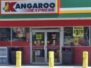 Two men attempted to rob a deliveryman at this Kangaroo convenience store in Hope Mills early Thursday, March 20, 2008. Although he was shot in the chest, the deliveryman got the gun away from the robbers, and they fled.