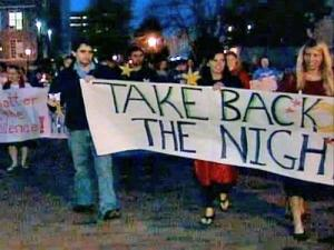 "UNC students symbolically reclaimed the night from fear and violence during the ""Take Back the Night"" march."
