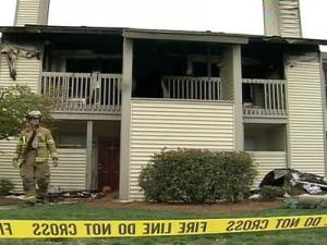 The fire at 4702 Bay Ridge Crossing in the Trestles Apartment complex started Sunday morning, March 30, 2008.