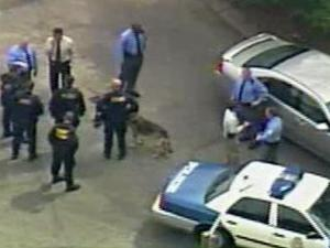 Police officers and a K-9 responded to reports of a shooting at the Schenley Square mobile-home park, off Rush Street in southeastern Raleigh on Friday, April 4, 2008.