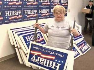 Yard signs in support of Clinton were going fast, organizers said on Saturday.