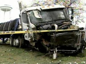 This tractor-trailer hit a church and nearby vehicles and spilled about 60 gallons of diesel fuel Monday, April 7, 2008.