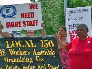 About two dozen staffers gathered outside Dorthea Dix Hospital at noon Friday, April 25, 2008, to protest what they called dangerous working conditions.