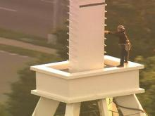 WEB ONLY: Sky 5 coverage of RBC Plaza spire installation