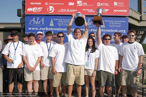 The ten-member team from Enloe High School in Raleigh took first prize in the finals of the Team America Rocketry Challenge, held outside Washington, D.C., on Saturday, May 17, 2008. (Photo courtesy www.aia-aerospace.org/tarc)