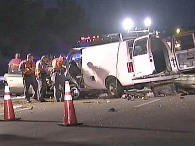Three people died and three were hurt after a van going the wrong way on the Inner Beltline crashed into a vehicle carrying five people on Sunday May 25, 2008.
