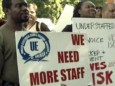 Mental health workers rallied Thursday outside of the Wake County Office Park on Carya Drive.