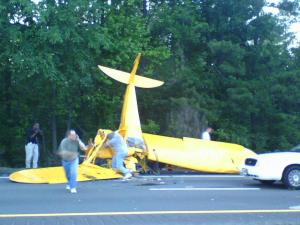 A plane crashed on Interstate 85 South near Red Mill Road in Durham around 7 p.m. on Friday, May 30, 2008.