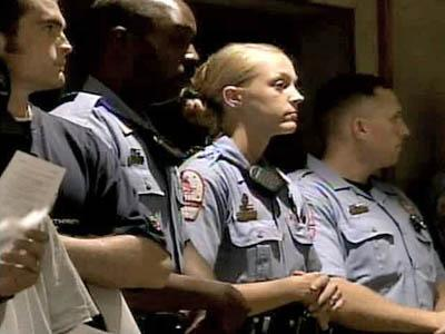 Raleigh police officers attended the city's public budget hearing Tuesday, June 3, 2008.