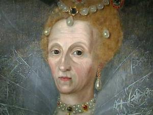 A 16th-century portrait of Queen Elizabeth shows the  monarch with wrinkles and a dour expression.