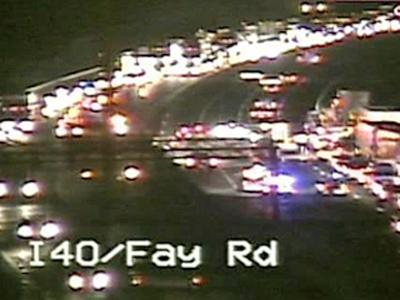 A traffic camera catches the scene of a wreck near the Fayetteville Road exit from Interstate 40 West on Tuesday, June 10, 2008.