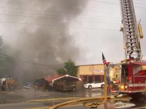 A fire broke out at Renfrow's Kenly Tire Services, 302 W. 2nd St., just off Interstate 95, on Wednesday, June 11, 2008. (Photo courtesy of Rayne Biggs)
