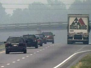 Smoke from an eastern N.C. wildfire settled over Rocky Mount Friday afternoon.